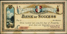 James Rodger & Co (Firm) :The Consolidated Bank of Success. May courage and good health your course keep clear, and fortune favour you through all the year. [Draft novelty Christmas and New Year gift cheque / printed by] James Rodger & Co. Christchurch. 1