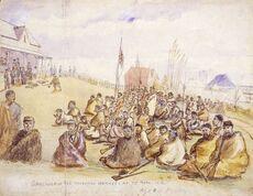 Surrender of the Tauranga natives at Te Papa.