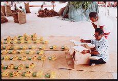 Inati ceremony - food division, Nukunonu Atoll, Tokelau