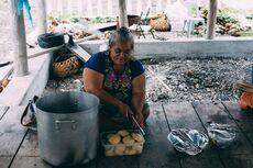 Woman cooking, Fakaofo, Tokelau