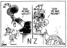 Evans, Malcolm, 1945- :'Show me your wallet!' 'Show me your passport!' New Zealand Herald, 13 May 2003.