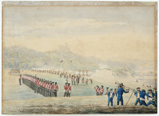 Bridge, Cyprian, 1807-1885 :Sketch of the action at Mawe, New Zealand, on the 8th May, 1845 by the forces under command of Lt Colonel Hulme 96th Regt. Composed of Head Quarter Division of 58th. Details &c of 96th - a few Marines & Sailors of H. M. Ships North Star and Hazard against the combined forces of the Rebels Heke & Kawiti / C. Bridge.