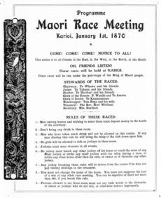 Programme advertising a Maori horse racing meeting in Karioi, Waikato
