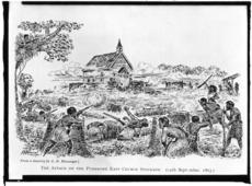 [Messenger, Arthur Herbert], 1877-1962 :The attack on the Pukekohe East Church stockade, 14 September, 1863. From a drawing by A H Messenger. [1921]