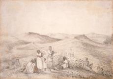 [Tempsky, Gustavus Ferdinand von] 1828-1868 :Ohaupo Redoubt & Forest Ranger camp; prisoners in foreground. [1864]
