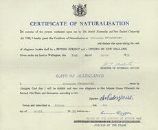 Naturalisation certificate