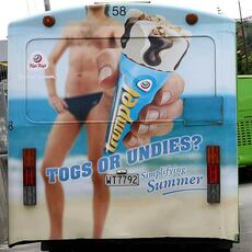 Advertisement on the back of a bus