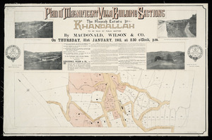 Plan of the magnificent villa building sections, the Hannah Estate, Khandallah ... [cartographic material].