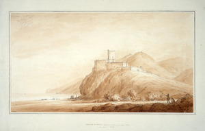 Swainson, William, 1789-1855 :Castle of Brolo; Giofusa on the mountains; Cape Nero in the distance, Sicily, 1811.
