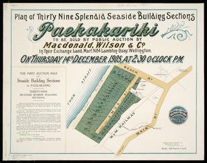 Plan of thirty nine splendid seaside building sections, Paekakariki [cartographic material] / Middleton & Smith, surv.
