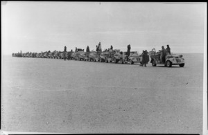 LRDG column lined up for inspection, north of Kayugi