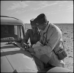 NZ officer pricking his position during the battle for the Western Desert