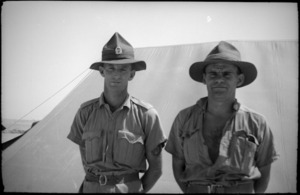 Pte G J W Gorton and Pte C W D Tait after arrival in Middle East