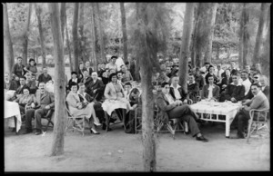 Groups of convalescent troops in the grounds of the Zaidan residence, Maadi