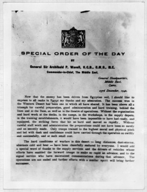 Special Order of the Day issued by General Wavell on the success of the 1st Libyan Offensive