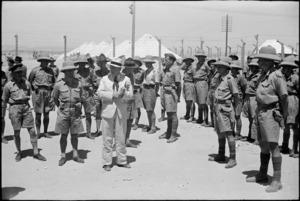 Prime Minister Peter Fraser addressing troops, Helwan