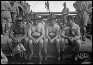 Fattest four in troopship competition during crossing the line carnival