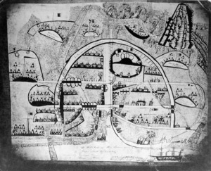 A sketch of the town and encampments in Taranaki taken by a Private 65th Regiment