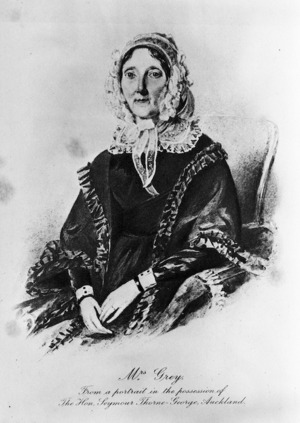 Artist unknown :Mrs Grey, from a portrait in the possession of the Hon. Seymour Thorne-George, Auckland, [1830s?]