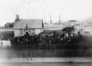 Williams, H :Group gathered around a church in Greymouth