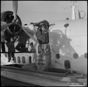 Unloading mail from the Imperial Airways flying boat at Cairo