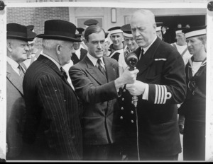 New Zealand Prime Minister Peter Fraser and Captain Pelly on a visit to trainee NZ naval ratings and cadets in England