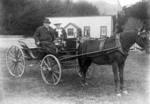 A phaeton carriage outside Fitchett's farm in Brooklyn, Wellington