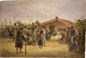 Robley, Horatio Gordon 1840-1930 :A tangi at Matapihi 1864.