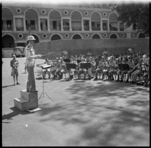 Massed bands playing for a BBC broadcast from Cairo, World War II