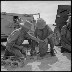 Preparing artillery ammunition, Egypt