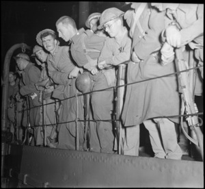 Troops at the shipside as they arrive at Alexandria after the evacuation of Crete