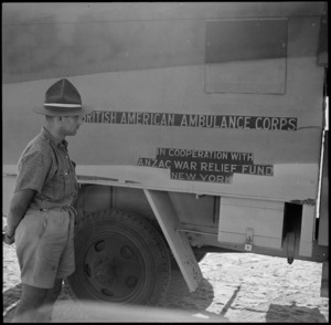 ASC driver inspects a presentation ambulance given to the NZEF by American donations