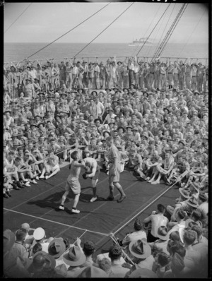 Boxing in progress on a NZ troopship