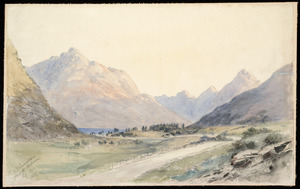 Barraud, Charles Decimus, 1822-1897 :Road to Queenstown from the Shotover, Feby 1890