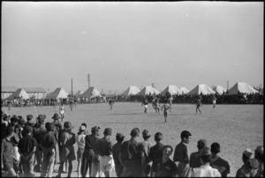 New Zealand playing Italian POWs at soccer, Helwan