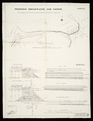 Proposed breakwater for Napier [cartographic material].