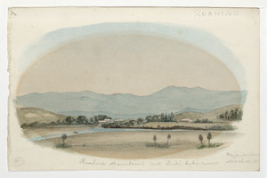 [Doubleday, William or John], fl 1880s :Ruahine Mountains and Tukituki River, Waipukurau, March 10 [18]85.