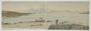 [Doubleday, William or John], fl 1880s :Lake Taupo, New Zealand. Taupo, April 15th 1885. Ruapehu 9000 ft, Tongariro 7000 ft.