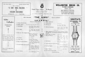 """J C Williamson Theatres Ltd present """"The Kiwis"""" New Zealand Revue Company in their programme """"Alamein"""". Grand Opera House, Wellington. Nightly at 8. [Programme centre spread. 1950]."""