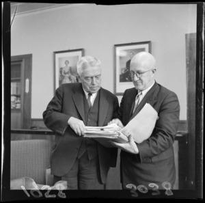 Final meeting between New Zealand Prime Minister Walter Nash (left), and the New Zealand Minister of Finance Arnold Nordmeyer, before Nash went to the Commonwealth Trade and Economic Conference in Montreal