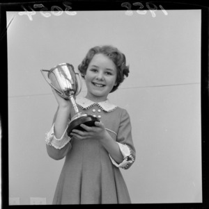 Vivienne Epsom with the cup she won