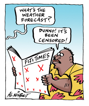 """What's the weather forecast?"" ""Dunno! It's been censored!"" 14 April 2009"