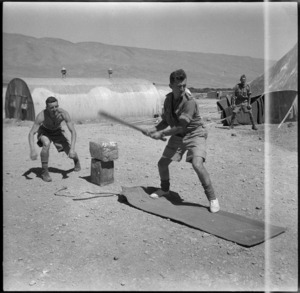 Soldiers playing cricket at their camp in Syria, World War II - Photograph taken by H Paton