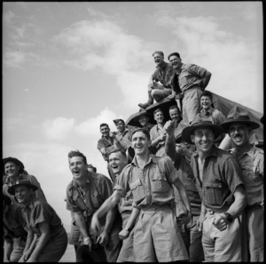Enthusiastic supporters at race meeting held by 36 NZ Survey Bty in Trans Jordania, World War II - Photograph taken by M D Elias