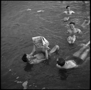 Members of 36 NZ Survey Battery bathing in the Dead Sea, World War II - Photograph taken by M D Elias