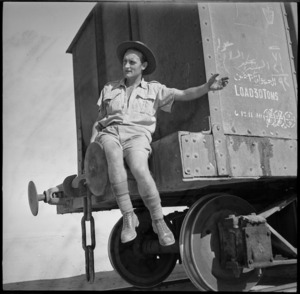 Neil Grace of the New Zealand Railway Operating Unit guides shunting of train, Western Desert