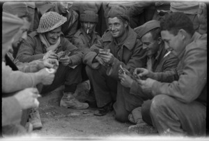 New Zealand soldiers playing cards in Tobruk, World War II