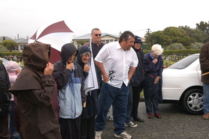 Unveiling of memorial stone at graves of miners killed in Strongman Mine disaster, Karoro Cemetery, Greymouth