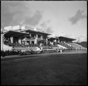 Grandstand during NZEF v Combined Services game at Alexandria, Egypt