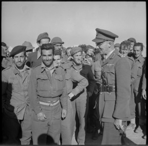 Brigadier Falconer visiting New Zealanders after arrival back from Bardia imprisonment